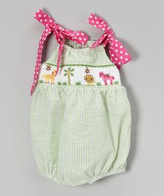 Loving this Smocked or Not Green Seersucker Zoo Bubble Sunsuit - Infant & Toddler on #zulily! #zulilyfinds
