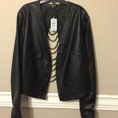 Black Faux Leather Jacket Black Faux Leather Open Back Jacket with beading detail Torrid Jackets & Coats Blazers