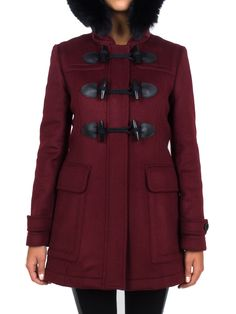 BURBERRY - Montgomery in lana con cappuccio - Bordeaux - Elsa-boutique.it #Burberry <3