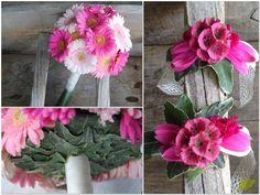 Ramo de novia con gerberas y corsage o pulsera floral a juego. Mayula flores