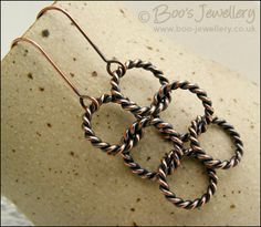 Antiqued copper twisted rope chain link earrings