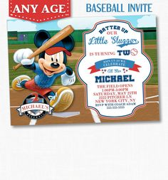 MICKEY MOUSE BASEBALL Invitation, Mickey Mouse Birthday Invitation, Mickey Mouse Invitation, Baseball Invitation, Mickey Mouse Birthday