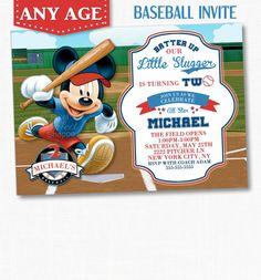 MICKEY MOUSE BASEBALL Invitation, Mickey Mouse Birthday Invitation, Mickey Mouse Invitation, Baseball Invitation, Mickey Mouse Birthday