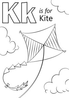 K is for Kite coloring page from Letter K category. Select from 26388 printable crafts of cartoons, nature, animals, Bible and many more.