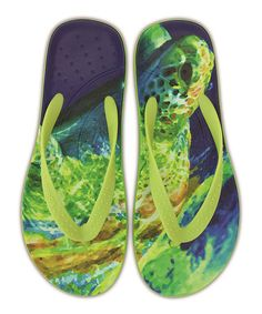 0472e707f40d84 Crocs Volt Green   Navy Turtle Chawaii Flip-Flop - Unisex