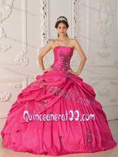 Red Taffeta Appliques Quinceanera Dresses with Pick-ups