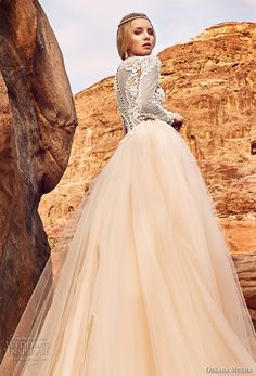 oksana mukha 2018 bridal long sleeves jewel neck heavily embellished lace bodice tulle skirt romantic a line wedding dress covered lace back royal train (khalissa) zbv -- Oksana Mukha 2018 Wedding Dresses