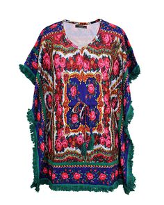Printed Kaftan With Fringed Lace  Buy from here http://www.rageonline.co.in/3_92_capes-and-ponchos_printed-kaftan-with-fringed-lace