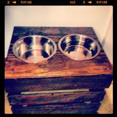 DIY crate and plywood dog bowl