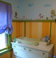 Melinda's gender neutral #nursery with RoomMates #woodland #animals wall decals.