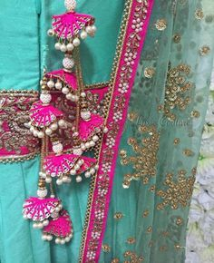 The ultimate list of gorgeous Lehenga and Blouse Latkan designs that are ruling the internet. From tassels to pom-pom designs, choose not just one but more. Saree Tassels Designs, Saree Blouse Designs, Rakhi Design, Lehenga Blouse, Lehenga Choli, Indian Wedding Outfits, Wedding Wear, Traditional Outfits, Trends