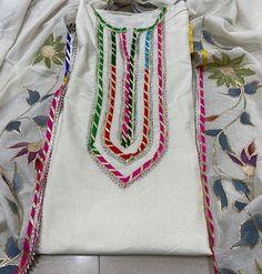 Silk Kurti Designs, Kurta Designs Women, Kurti Designs Party Wear, Embroidery Designs, Embroidery Suits Design, Neck Designs For Suits, Dress Neck Designs, Pakistani Fashion Party Wear, Pakistani Dress Design