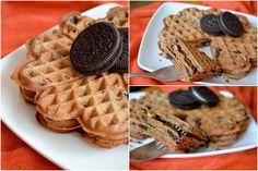 Chocolate waffels with Oreo