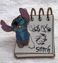 2008 Disney Pin - Stitch Jumping Off Sketch Pad- Lilo & Stitch +