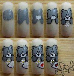 Teddy bear nail art step by step Nail Art Hacks, Gel Nail Art, Nail Art Disney, Minion Nail Art, Snowman Nails, Nail Mania, Animal Nail Art, Nail Art For Beginners, Easter Nail Art
