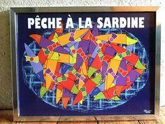 """Poster / Affiche bretonne """" Pêche à la sardine"""" de la collection """"les sardines en fête"""" - Breizh Nana"""