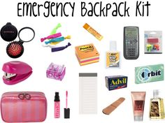 Preppy Premed: Emergency Backpack Kit + Pencil Pouch Organization minus the Advil for highschool Backpack Essentials, School Essentials, Airplane Essentials, Emergency Backpack Kit, School Backpack Organization, Locker Organization, Organizing, Emergency Kit For Girls, Emergency Kits
