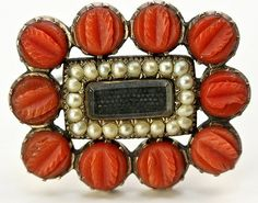 Antique Georgian Mourning Brooch, Red Coral Seed Pearls 12k