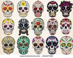 Sugar skulls set