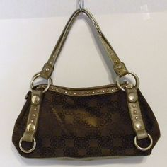 EUC Kathy Von Zeeland Large Satchel Hand Bag Purse Shoulderbag Brown & Gold  #KathyVanZeeland #Hobo
