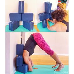 """""""We love teaching #headstand prep with a block at the wall. It's such a good way to build up shoulder strength and experience being upside-down without going up into the full pose. (If you're not sure what prep pose we're talking about, look back at our feed for a shot of Christina last month!). ✳️BUT, while this is a great way to work on the pose, there's one issue - you need a partner to place the block for you! We're not always practicing..."""