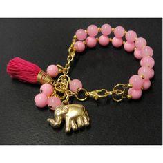 Pulsera de Moda con Perlas y Dije de Elefante