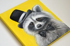 Mr. Racoon giclée print on canvas. Racoon wrapped by MimoCadeaux