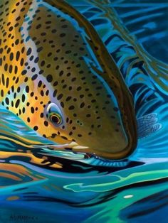 Brown Trout And Mayfly - Abstract Fly Fishing Art (Print) by Mike . Fly Fishing Tips, Gone Fishing, Fishing Signs, Fishing Stuff, Fishing Quotes, Fishing Tricks, Fishing Rods, Fishing Tackle, Salmon Fishing