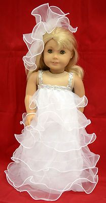 "Wedding Dress Fit American Girl 18"" Doll Hat Dress 