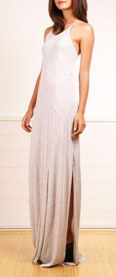 Ecru maxi dress with slit