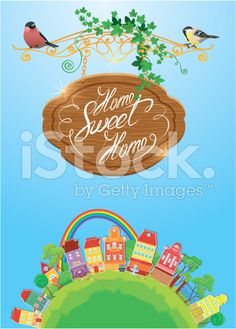 Decorative colorful houses, trees, rainbow and birds on sky background royalty-free stock vector art