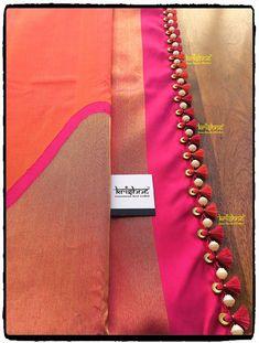 Designer Silk Saree handcrafted with beads tassel kuchu from Krishne Saree Tasse. Designer Silk Saree handcrafted with beads tassel kuchu from Krishne Saree Tassels Saree Kuchu New Designs, Saree Tassels Designs, Saree Blouse Neck Designs, Fancy Blouse Designs, Bridal Blouse Designs, Cutwork Saree, Designer Silk Sarees, Designer Blouse Patterns, Chiffon