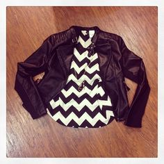 Black Leather Jacket and Chevron Top