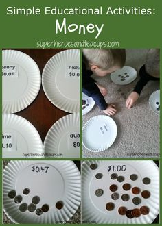 Simple educational activities to help children learn about money.