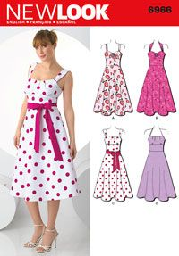 Misses Retro Style Dress New Look Sewing Pattern No. 6966. Size 8-16.