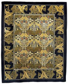 Wilton carpet designed by Voysey. Made in Kidderminster, England in 1896. Made by Tomkinson and Adam. Machine woven wool.