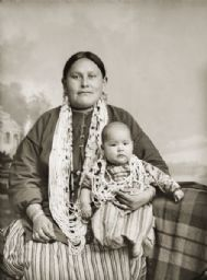 Ho-Chunk Mother and Daughter - 1891 ca. Marie Molly Prophet Thunder (HoWaChoNeWinKah) hold her daughter Kate Thunder (WaRoSheSepEWinKah). - Photo Van Chaick, Charles     ..Black River Falls, Wisconsin          ..www.wisconsinhistory.org