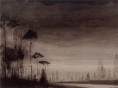 Léon Spilliaert(Belgian, 1881-1946)/  Landscape with tall trees /  1900-1902/  India ink and Conté pencils on paper