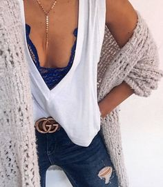 #Winter #Outfits white top, ripped jeans, knitted cardigan Our inspiration for our #minimalistjewelry #minimalistjewellery #minimalist #jewellery #jewelry #jewelleries #jewelries #minimalistaccessories #bangles #bracelets #rings #necklace #earrings #womensaccessories #accessories #minimalistbabe #minimalistbabes