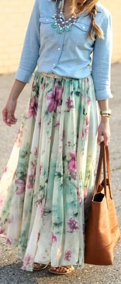 Women's fashion | Chambray shirt, floral pleated maxi skirt and statement necklace