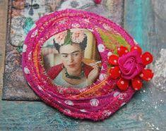 make your own frida kahlo textile art brooch gypsy boho style 048