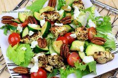 Qchenne-Inspiracje! Odchudzanie, dietoterapia, leczenie dietą: Sałatka z kurczakiem, grillowanymi warzywami, orze...