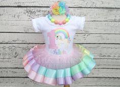 Unicorn Birthday Tutu Outfit - Pastel Rainbow Unicorn - Pink Peach Yellow Mint Aqua Lavender - Unicorn Birthday Dress - Ribbon Trim Tutu Set