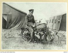 Royal Air Force (RAF) officer on a Phelan and Moore Panther 3 horse power single cylinder motorcycle. Motorcycle Shop, British Motorcycles, Anzac Day, War Dogs, Royal Air Force, Classic Bikes, Vintage Bikes, Panthers, Wwi