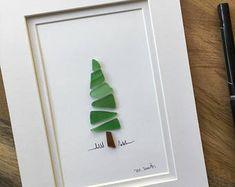 Items similar to Sea Glass Evergreen - Christmas Decor - Holiday Tree - Christmas Tree - Housewarming Gift - on Etsy Sea Glass Crafts, Sea Crafts, Rock Crafts, Glass Wall Art, Sea Glass Art, Sea Glass Jewelry, Seashell Art, Seashell Crafts, Christmas Card Crafts
