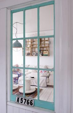 turquoise window/partition