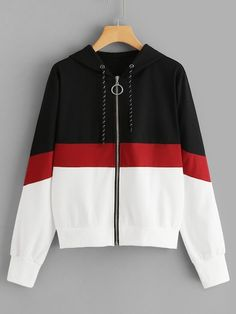 Colorblock Drawstring Zip Up Jacket