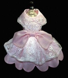 Victoria, Delicate Couture Dog Dress, Scalloped Hemline and Large Collar, Pink Voile, Ecru Lace. $79.00, via Etsy.