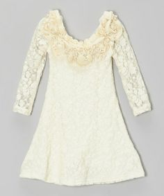 Take a look at this Crème Lace Ornate Pearl Collar Dress - Toddler & Girls by Mia Belle Baby on #zulily today!