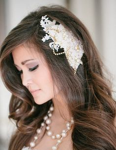 Ivory Bridal Headpiece with gold and lace accents